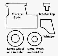Tractor pattern. Use the printable outline for crafts