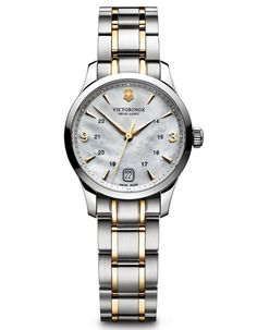 Swiss Army Ladies 100M Alliance - White Mother of Pearl - Gold-Tone Accents