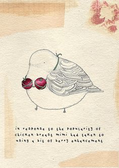 Little birdie with a sense of humor by Kate Wilson of littledoodles.