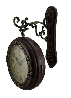 kiaotime european vintage double sided station metal wall clock art clock decorative double faced wall clock 360 degree rotate dark brown color pinterest