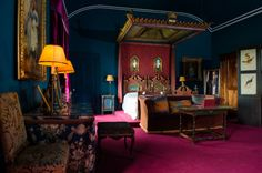 The newly restored 'Rome' bedroom, epitomising Edith, Lady Londonderry's bold colour sense. ©National Trust/Elaine Hill