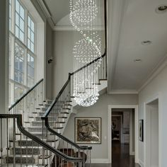 Modern Spiral Three Sphere Raindrop Crystal Chandelier Lighting Raindrop chandelier will be a perfect choice if you have a two-story foyer with staircase. Entryway Chandelier, Crystal Chandelier Lighting, Chandelier Ceiling Lights, Small Chandeliers, Kitchen Chandelier, Iron Chandeliers, Dream Home Design, Home Interior Design, House Design