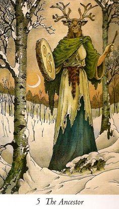 Wildwood Tarot: O Hierofante Wildwood Tarot, The Hierophant, Pagan Art, Tarot Major Arcana, Deer Art, Illustration, Oracle Cards, Gods And Goddesses, Tarot Decks