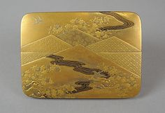 Box w/ Folded Brocade Pattern ~ 19th century Japanese, Gold & Silver Maki-e on Gold Lacquer
