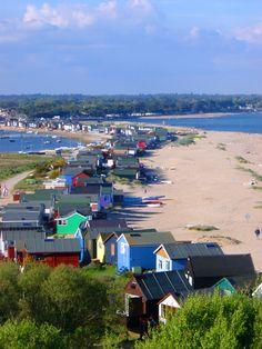 Mudeford Spit and beach huts, near Christchurch, Dorset British Beaches, British Seaside, British Isles, Devon Coast, Dorset Coast, Mudeford Beach Huts, Dorset Beaches, Places To Travel, Places To Visit