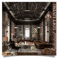 """Industrial Loft Living"" by loveartrecyclekardstock ❤ liked on Polyvore featuring interior, interiors, interior design, home, home decor, interior decorating, NuCasa, Arteriors, Home Decorators Collection and Art Classics LTD"