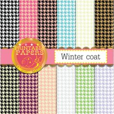 """Houndstooth digital paper, houndstooth backgrounds of different colors 12 papers called Winter coat"""" #design #scrapbooking"""