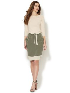 Draped Silk Color Block Skirt by Lafayette 148 New York at Gilt