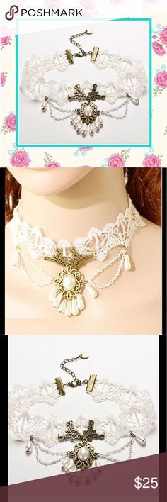 🍒 New white lace bride dangle necklace choker Unique Styles white lace choker with white double chain and pearl pendant adjustable necklace. Very BoHo chic hippie gypsy tribal Wiccan Gothic steampunk vintage bridal wedding Bohemian style. no-name brand. Also Great for costume. NWOT Jewelry Necklaces