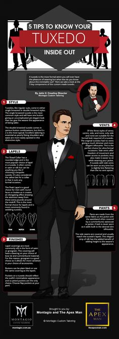5 Tips to Know Your Tuxedo Inside Out [by Montagio -- via #tipsographic]. More at tipsographic.com