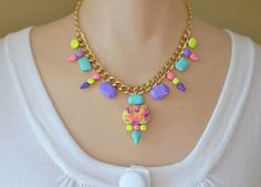 statement necklace hand painted rhinestone Neon by ColorblockShop, $53.00