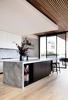 kitchen design gorgeous contemporary kitchen with gray marble slab island and natural wood panel ceiling tom robertson architects modernkitchendes Interior Design Minimalist, Interior Design Kitchen, Modern Interior Design, Home Design, Design Ideas, Kitchen Designs, Modern Interiors, Interior Decorating, Coastal Interior
