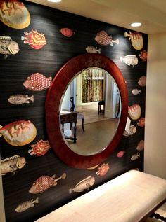 Fornasetti wallpaper 'Acquario' by Cole & Son. Bathroom Wallpaper Fish, Fish Wallpaper, Colorful Interior Design, Colorful Interiors, Fornasetti Wallpaper, Shabby Chic Tapete, Wall Design, House Design, Cole And Son Wallpaper