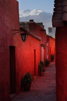 Photo by James Henley - One of the streets in the Santa Catalina Monastery, with the mountain Chachani in the background, Arequipa, Peru