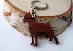 Wooden Doberman Keychain Walnut Wood Dog Keychain by PongiWorks