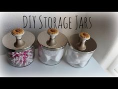 ▶ DIY Storage Jars Using Bath and Body Works Candle Jars - LOVE the idea of adding handles, just not those ones!