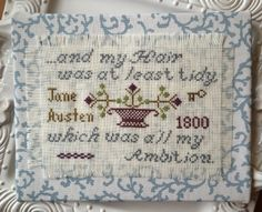 """PDF Cross Stitch Pattern Download  I wore my Aunt's gown & handkercheif, & my hair was at least tidy, which was all my ambition. Jane Austen, 20 November 1800  Stitch Count: 70 X 100 Threads: DMC cotton flossFinished Size: 5"""" by 7"""" Model Stitcher: Ann Slater   Finishing instructions included.  ::PDF Instant Download Chart is emailed to you upon purchase."""