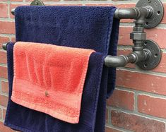 Bathrooms Towel Rack Towel bar Towel Holder Industrial Towel Rack That fall they provided the servic Bathroom Wood Shelves, Half Bathroom Decor, Towel Rack Bathroom, Bathroom Storage, Master Bathroom, Room Under Stairs, Steampunk, Towel Holder, Towel Racks