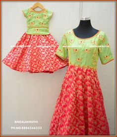 dress designs by Angalakruthi boutique Bangalore and daughter matching dress designs n me desings by Angalakruthi Mother Daughter Dresses Matching, Mother Daughter Outfits, Mommy And Me Outfits, Matching Family Outfits, Mom Daughter, Mother Daughters, Baby Outfits, Mom Dress, Dress Skirt