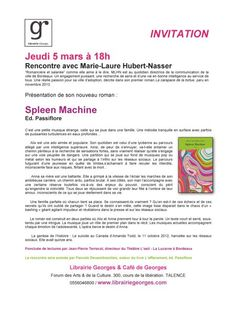 Jeudi 5 mars à 18h Rencontre avec Marie-Laure Hubert-Nasser Spleen Machine Ed. Passiflore