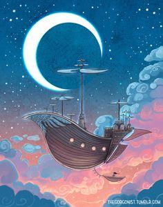 Dreamship airship illustration in dreamy colors Dream Illustration, Digital Illustration, Film Manga, Aquarell Tattoo, Treasure Planet, Art Plastique, Art Inspo, Watercolor Art, Fantasy Art