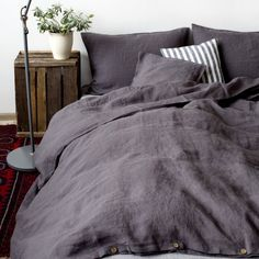 Dark Grey Stone Washed Linen Duvet Cover