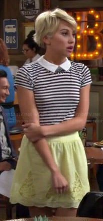 Riley's striped collared top and yellow skirt on Baby Daddy.  Outfit Details: http://wornontv.net/43866/ #BabyDaddy