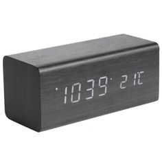 Karlsson Block LED Alarm Clock with Date & Temperature - Black Wood