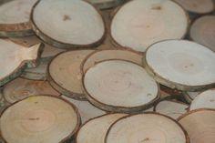 Rustic Wood Disc Tree Slices 100 Cherry Tree Cookies Wood Blanks Wood Burning Blanks Name Tags Wedding Decor Art Craft Blanks. $42.50, via Etsy.