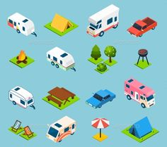 Camping And Travel Isometric Icons Set by macrovector Camping and travel isometric icons set with trees transport and different things for campsite and travelling on light blue backgro