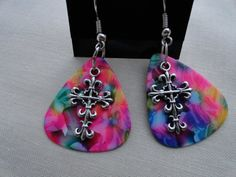 Guitar Pick Gothic Tie Dye Cross Heart Dangle by SimpleMadePretty, $3.00