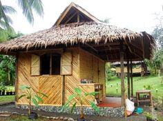 tikied up hut Bamboo House Design, Condo Design, Tiny House Design, Cabana, Backyard Cabin, Hut House, Surf Lodge, Cottage Style House Plans, Bamboo Architecture