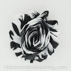 Ribbon And Bows Oh My! Black <3 17 colors of #chevron Shabby Chiffon Flowers! #chiffonflower #shabbychic