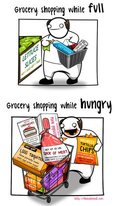 The Oatmeal: Minor Differences - Grocery shopping while full vs while hungry #humor #funny