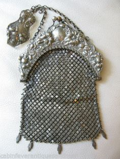 Antique Victorian Art Nouveau G Silver Pierced Chatelaine Double Coin Case Purse | eBay