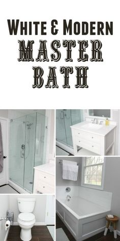 Reveal of our Master Bath Renovation. White and Modern bath with wood tile floors.