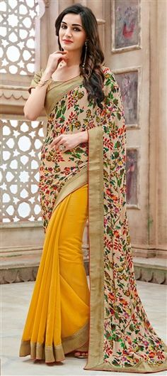 721585 Beige and Brown, Yellow color family Party Wear Sarees, Printed Sarees in Faux Georgette fabric with Lace, Printed work with matching unstitched blouse. Fancy Sarees Party Wear, Party Wear Indian Dresses, Girls Party Dress, Indian Outfits, Dress Party, Floral Print Sarees, Printed Sarees, Floral Prints, Saris