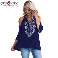 bc5d7e12753 SEBOWEL с открытыми плечами Для женщин рубашка Топы корректирующие Глубокий  V Средства ухода за кожей шеи