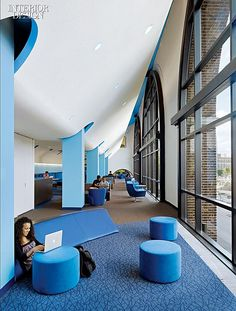 2013 BOY Winner: Study Hall/School Library - All For Decorations Commercial Design, Commercial Interiors, Student Lounge, Interior Design Minimalist, Interior Design Awards, University Interior Design, Co Working, Library Design, Learning Spaces