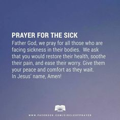 Prayer for the sick quotes awesome prayer for the sick sayings pinter Prayer Verses, Faith Prayer, Prayer Quotes, My Prayer, Bible Verses, Prayer Board, Scriptures, Worry Prayer, Night Prayer