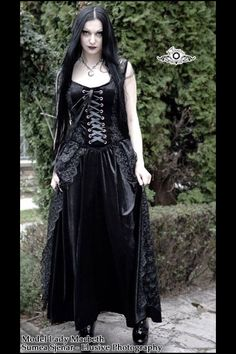 Pretty Black Lace and Velvet Long Gothic Dress