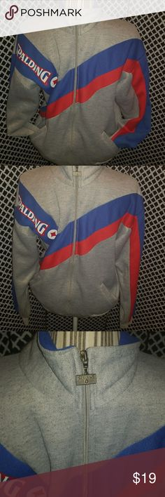 Vintage Spalding zip front sweatshirt with collar Unisex! Men's small ladies med/large this Olympics inspired Spalding zip up is like you stepped out of the 90s dream team but it's like new!! Vintage Sweaters Zip Up