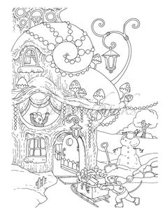 Nice Little Town 4 (Adult Coloring Book, Coloring pages