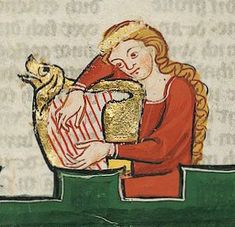 Harpist, from the Codex Manesse. From an article about odd depictions of…