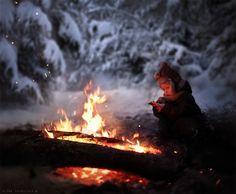 Elena Shumilova's magical, wintry photography: Boy and campfire