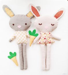 Bunny Sewing Pattern - Bunny Doll Pattern - Boy Bunny Girl Bunny With Carrot - PDF