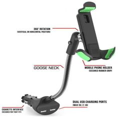Car Mount, HC84K Car Smartphone Holder & Dual USB 2.1A Charger & Over Charge A+