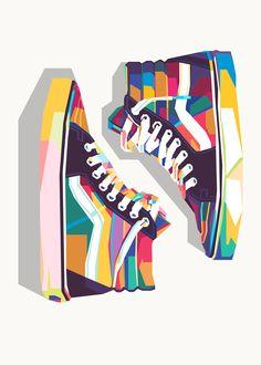 Illustration Pop Art, Graphic Design Illustration, Pop Art Poster, Drawing Sunset, Skate Art, Sneaker Art, Arte Pop, Diy Canvas Art, Vans Shoes