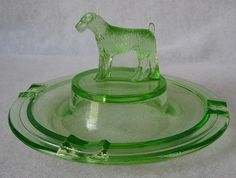 Fox Terrier Dog Green Depression Glass Ashtray by vintagejunque, via Flickr