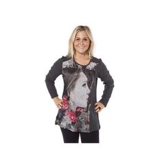 One O One Paris: Pink Fancy Face Sweater Tunic, up to size US 32, only on wildcurves.com!